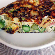Spring Frittata with Asparagus, Peas and Pancetta