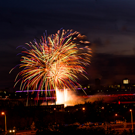 Firework by Joseph Law - News & Events Entertainment ( street light, beautiful night, firework, in edmonton city, celebration, entertainment )
