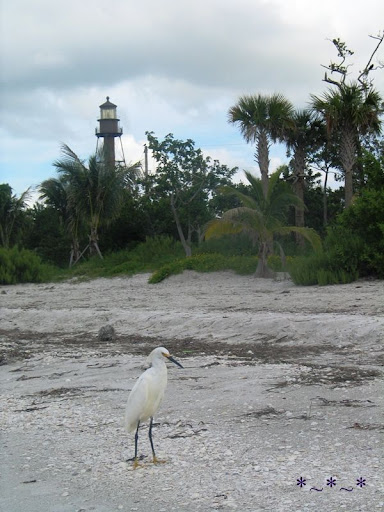 Sanibel Island Lighthouse with Egret