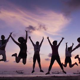 Joy at Jimbaran Sunset by Charles Parulian - Novices Only Portraits & People ( sunset, joy, jimbaran, people, jump,  )