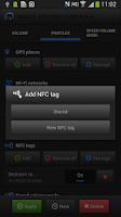 Screenshot of NFC Profiles+ for SVC (tags)