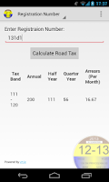 Screenshot of Motor Tax Calculator