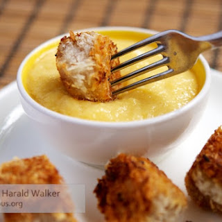 Crispy Coconut Crusted Tofu Poppers with Chili Mango Cream