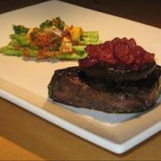 Marinated Steaks With Asparagus Topped With Garlic Breadcrumbs A