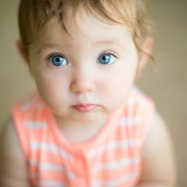 Pout by Mike DeMicco - Babies & Children Babies ( child, sweet, girl, blue, pout, adorable, baby, toddler, cute, young, portrait, eyes )