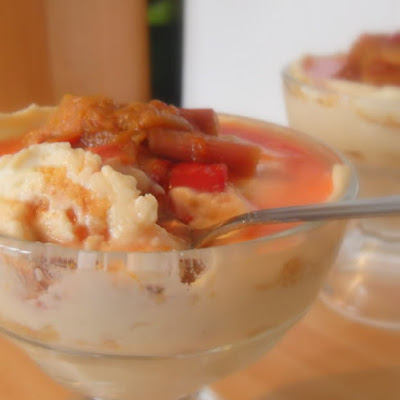 Cheesecake in a Glass with Rhubarb Syrup