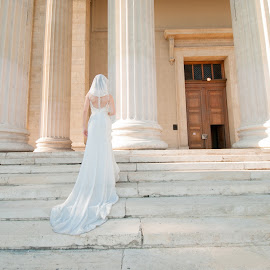 by George Mihes - Wedding Bride ( budapest bride weding stairs pillar,  )