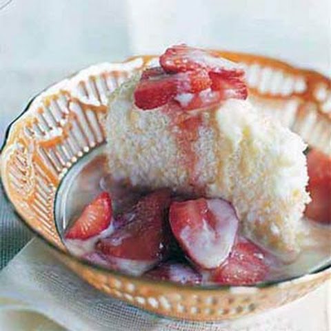 Double-strawberry Angel Food Cake With Whipped Vanilla Creme Fraiche ...