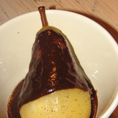 Pears with Chocolate Sauce and Cracked Black Pepper