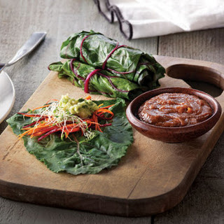 Swiss Chard Wraps with Almond Lime Dip
