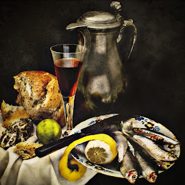 by Jack Hardin - Artistic Objects Still Life ( loaf, food & drink, bread, seafood, fish, still life, pewter, traditional, antique, classic, old masters )