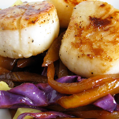 Seared Scallops with Carmelized Mango Slaw