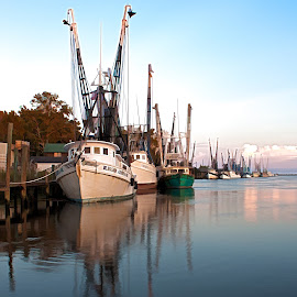 At the Dock by Blaine Pratt - Landscapes Waterscapes ( boats, dock )