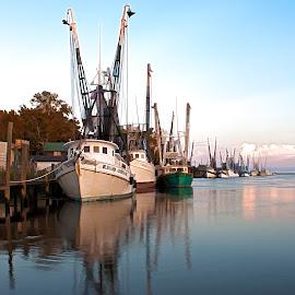 At the Dock by Blaine Pratt - Transportation Boats ( boats, dock )