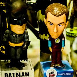 Sheldon with his Favorite, Batman !!!! by Vyom  Rastogi - Artistic Objects Toys ( big bang theory, sheldon, comiccon, toys, batman, bobble heads )