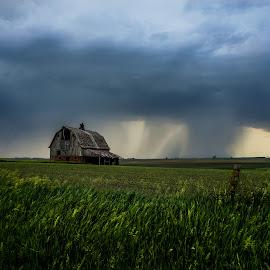 by Amber Olsen - Landscapes Weather ( iowa, barn, storm, clods, rain,  )