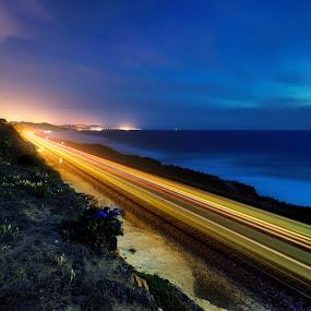Train Streaking by Christopher Payne - Abstract Light Painting ( coaster, cliff, wave, track, surfliner, train, sea, ocean, night, beach, amrak, light )