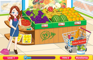 Screenshot of Cleaning Time Supermarket Game