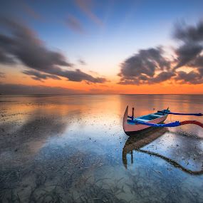 by Bertoni Siswanto - Transportation Boats ( reflection, colorful, sassy, transportation, landscape, lights, sunrise & sunset, indonesia, hot pink, bertoni siswanto, pink, colored, bali, sanur, mood, scenic, scents, fun, boat, lighting, confident, artificial, the mood factory, senses, mood factory )