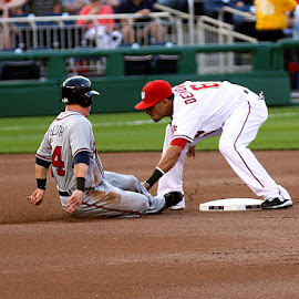 Out at Second by Mike Quan - Sports & Fitness Baseball ( dc, second base, nats, baseball, nationals,  )
