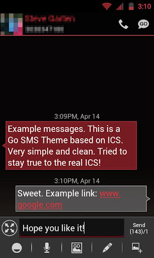 GO SMS THEME - Smooth ICS Red