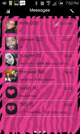 Go SMS Themes: Pink Zebra