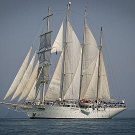 The Star Clipper Tall Ship by Chantal Reed - Transportation Boats ( green water, tall ships, yacht, sea, sails, star clipper, masts, andaman sea, far east, scooner )