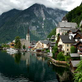 Hallstatt by Virginijus Juozapavicius - Landscapes Travel ( mountains, cloud, lake, town, hallstatt, austria )