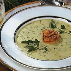 Cream of Watercress Soup with Pan-Seared Scallops