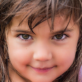 cheeky girl by Vibeke Friis - Babies & Children Child Portraits ( face, girls, close-up, smiling, eyes )