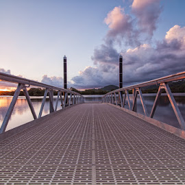 Lake Dunethin Jetty Low by Chen Hopwood - Buildings & Architecture Bridges & Suspended Structures ( canon, queensland, qld, sunshinecoast, pontoon, australianphotography, jetty, landscape, storm, panorama, photography, pier, lonexposure, water, clouds, ndfilter, queenslandaustralia, lakedunethin, 5d, 16-28, lucroit, pano, hitechfilters, lucroitfilterholder, sunset, australia, 10stop, hitech, tokina,  )