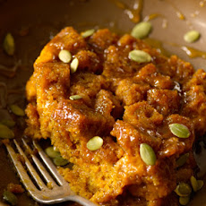 Pumpkin Bread Pudding with Spicy Caramel Apple Sauce
