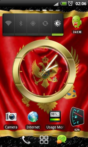 Montenegro flag clocks