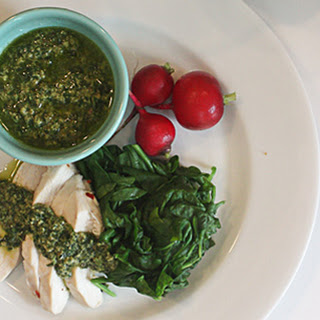 Poached Chicken Breasts with Lemon-Basil Salsa Verde