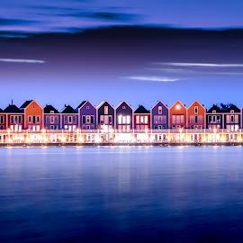 Blue Holland by Jon Webb - Buildings & Architecture Homes ( houten, house, cityscape, architecture, landscape, dock, vlondertuin, dutch, long exposure, causeway, deck, water, houses, nederland, vlonder, blue hour, twilight, lake, dusk, netherlands, wooden, blue, rietplas, sunset, holland, vista, utrecht )