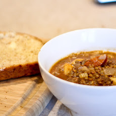 Spanish Lentil Soup with Sausages and Apples