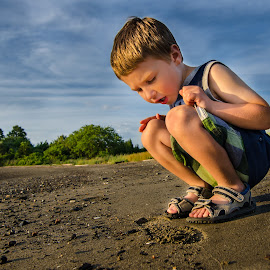 Following Footprints by Justin Galusha - Babies & Children Children Candids ( weymouth, footprints, golden hour )