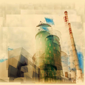 Powerplant by Brut Carniollus - Digital Art Things ( abstract, digital collage, industrial, architecture, surreal, , red, green )