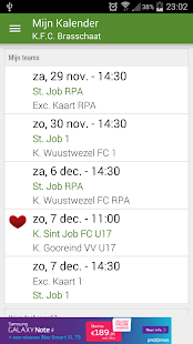 Voetbal kalender - screenshot
