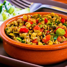 Lentil Salad with Green Olives, Red Bell Pepper, Green Onion, and Greek Oregano