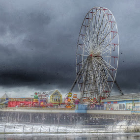 Stormy Seas by Andrea Clayton - Novices Only Landscapes ( promenade, pier, seascape, landscape )
