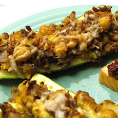 Zucchini With Chickpea and Mushroom Stuffing