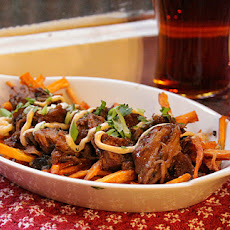 Sweet Potato Fries with Smokey Tea Pork and Shiitake Mayo