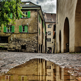 Rainy Day. by Jesus Giraldo - Buildings & Architecture Homes ( concept, reflection, street, beauty, puddle, homes )