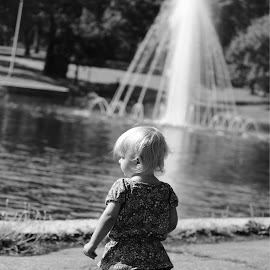 Awe by Abigail Beard - Babies & Children Children Candids ( water, child, sweet, girl, black and white, fountain, summer, baby, toddler )