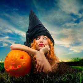 Halloween witch by Sadzak Vladimir - People Portraits of Women ( sky, nature, grass, pumpkin, witch, emotion, halloween,  )