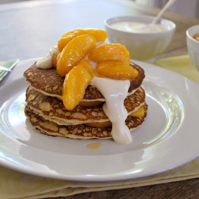 Pancakes with Peach Syrup and Sweet Yogurt Sauce