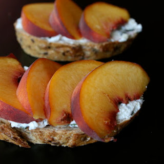 Basil Goat Cheese Toast with Fresh Peaches
