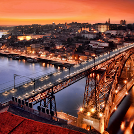 Oporto by night by Antonio Amen - City,  Street & Park  Vistas ( lights, d. luiz i, river douro, oporto, night, bridge, portugal, porto, Urban, City, Lifestyle )