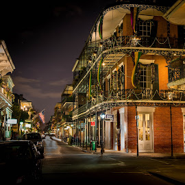 New Orleans After Dark by Sheldon Anderson - City,  Street & Park  Street Scenes ( new orleans, streetscapes, night photography, street, dramatic, french quarter, night, mardi gras )